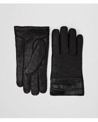 Bottega Veneta - Nero Nappa Crocodile Glove - Lyst