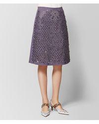 Bottega Veneta - Dark Lilac Cotton Skirt - Lyst