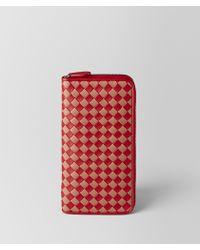 Bottega Veneta - China Red/dahlia Intrecciato Checker Zip Around Wallet - Lyst