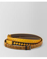 Bottega Veneta - Nero/sunset Intrecciato Check Belt - Lyst