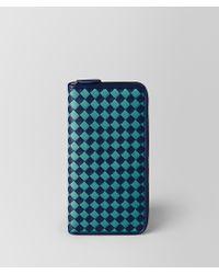 Bottega Veneta - Atlantic/aqua Intrecciato Checker Zip Around Wallet - Lyst