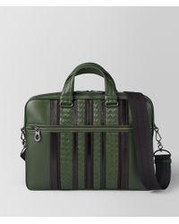 Bottega Veneta - Forest/nero Nappa Tech Stripe Briefcase - Lyst