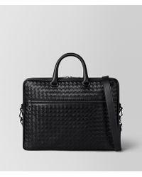 Bottega Veneta - Nero Intrecciato Vn Small Briefcase - Lyst