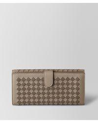Bottega Veneta - Limestone/steel Intrecciato Checker French Wallet - Lyst