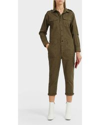 Current/Elliott - The Crew Coverall Polka-dot Cotton-blend Jumpsuit - Lyst