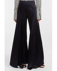 Paper London - Lex Satin Wide-leg Trousers, Size Uk14, Women, Navy - Lyst