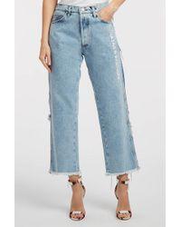 Natasha Zinko - Printed Boyfriend Jeans, Size Fr38, Women, Blue - Lyst