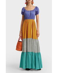 Caroline Constas - Bardot Printed Stretch-cotton Maxi Dress - Lyst