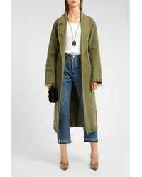 T By Alexander Wang - Pyjama Distressed Cotton Trench Coat - Lyst