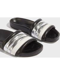 Isabel Marant - Hellea Leather Slides, Size Fr36, Women, Silver - Lyst