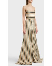 Caroline Constas - Forbes Striped Satin Jumpsuit, Size Us2, Women, Beige - Lyst