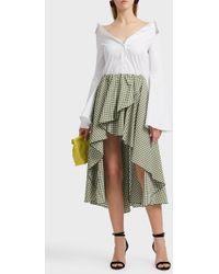 Caroline Constas | Adelle Asymmetric Gingham Cotton-poplin Skirt | Lyst