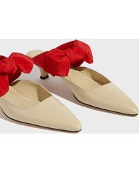 The Row - Coco Contrast Bow Mules, Size It38, Women, Beige - Lyst