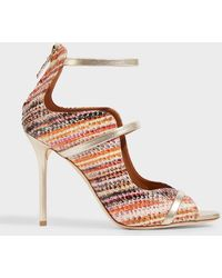 Malone Souliers - Mika Metallic Leather-trimmed Elaphe Sandals - Lyst