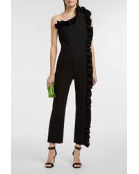 MSGM - Ruffled Crepe Jumpsuit, Size It40, Women, Black - Lyst