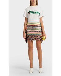 Alberta Ferretti - Alitalia Appliquéd Cotton T-shirt - Lyst