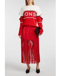 Monse - Fringed Silk-satin Skirt, Size Us4, Women, Red - Lyst
