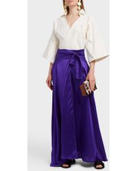 CAFTANII | Kimi Silk-satin Wrap Skirt | Lyst