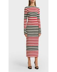Norma Kamali - Striped Jersey Midi Dress, Size S, Women - Lyst