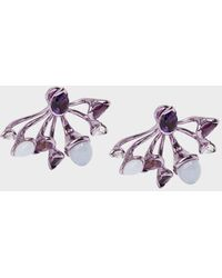 Fernando Jorge - Calyx Lilac-coated 18-karat Gold Diamond, Amethyst And Chalcedony Earrings - Lyst