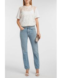 Elie Saab - Sequin-embellished Embroidered Lace And Cotton-jersey T-shirt - Lyst