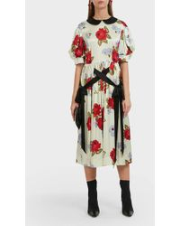 Simone Rocha - Contrast Floral Print Silk Dress - Lyst
