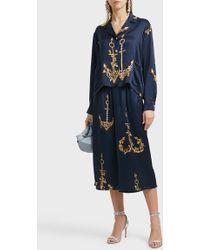 Natasha Zinko - Printed Silk Pyjama Trousers, Size Fr36, Women, Navy - Lyst