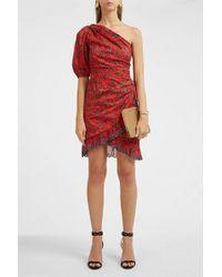 Étoile Isabel Marant - Esther One-shoulder Embroidered Floral-print Cotton Mini Dress Red Fr38 - Lyst