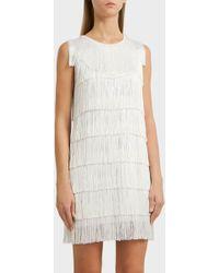 Norma Kamali - Fringed Mini Dress, Size Xs, Women, White - Lyst