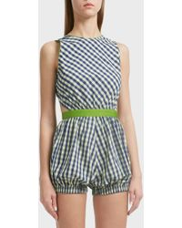 Adam Selman - Chequered Cotton Romper, Size Us4, Women - Lyst