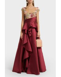 Notte by Marchesa - Appliquéd Tulle And Satin Gown, Size Us4, Women, Purple - Lyst