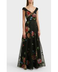 Notte by Marchesa - Embroidered Silk Gown, Size Us4, Women, Black - Lyst