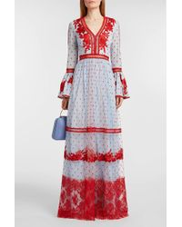 Costarellos - Embroidered Tulle Gown - Lyst