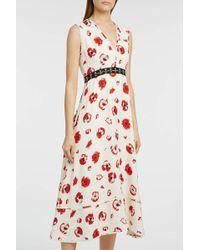 Proenza Schouler - Frayed Floral-print Crepe Dress - Lyst