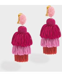 Oscar de la Renta - Long Silk Tassel Earrings - Lyst