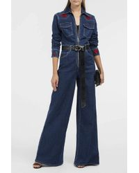 Adam Selman - Embroidered Denim Jumpsuit - Lyst