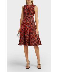 CALVIN KLEIN 205W39NYC - Zebra-print Twill Midi-dress - Lyst