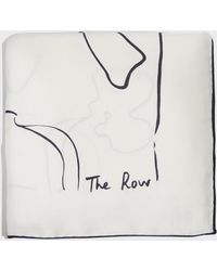The Row - Printed Silk Scarf, Size Os, Women, Ivory - Lyst