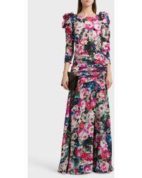 Ronald Van Der Kemp - Floral Print Silk-blend Gown, Fr38 - Lyst