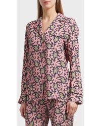 Victoria, Victoria Beckham - Printed Pyjama Shirt, Size Uk8, Women, Pink - Lyst