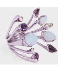 Fernando Jorge - Calyx Lilac-coated 18-karat Gold Diamond, Amethyst And Chalcedony Ring - Lyst
