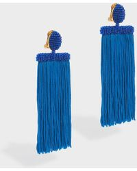Oscar de la Renta | Long Silk Waterfall Tassel Earrings | Lyst