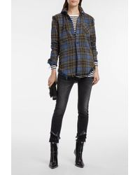 R13 - Distressed Plaid Cotton-flannel Shirt - Lyst