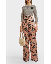 Rochas - Floral-print Silk Wide-leg Trousers, Size It46, Women, Pink - Lyst