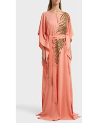 Oscar de la Renta - Embellished Silk-blend Kaftan, Xl - Lyst