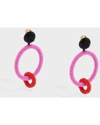 Oscar de la Renta - Beaded Clip Earrings - Lyst