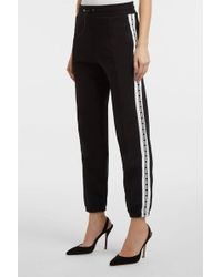 MSGM - Striped Cotton-jersey Track Trousers, Size M, Women, Black - Lyst