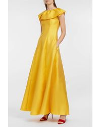 Merchant Archive - Ruffled Satin-twill Dress, Size Uk8, Women, Yellow - Lyst