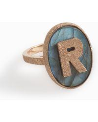 Carolina Bucci - 'r' Initial Ring, Size Usa7, Women, Metallic - Lyst