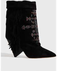 73eb52eab3b Isabel Marant - Lesten Embroidered Ankle Boots - Lyst